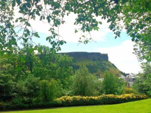 A stunning view of Salisbury Crags from Calton Hill.