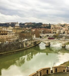The Tiber River in Rome, Italy.